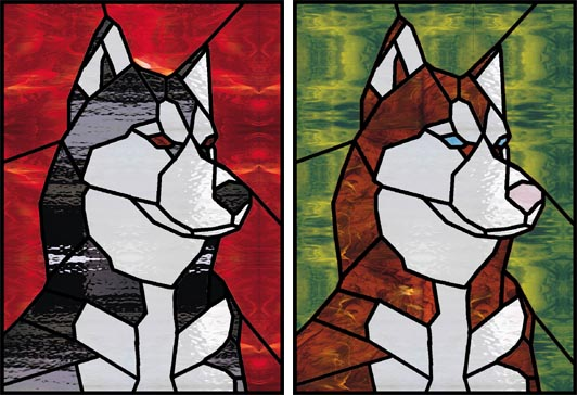 Stained Glass Dog Portraits - Jeanne Balsam -- Professional Artist